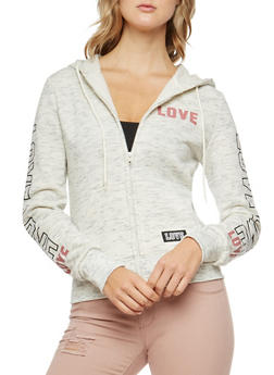 Marled Love Graphic Sleeve Hooded Sweatshirt - 3056072292160