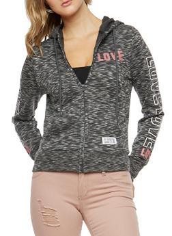 Marled Love Graphic Sleeve Hooded Sweatshirt - 3056072292160