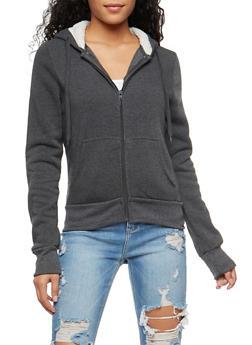 Sherpa Lined Zip Front Sweatshirt - 3056072292176