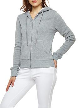 Fleece Lined Zip Up Hooded Sweatshirt - 3056072292760