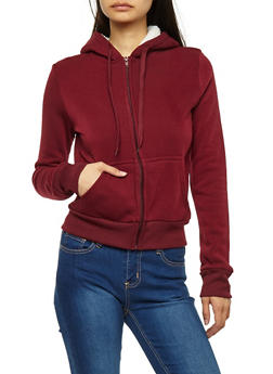 Fleece Lined Zip Up Hooded Sweatshirt - 3056072292760