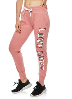Soft Knit Love Graphic Joggers - 3056072295600
