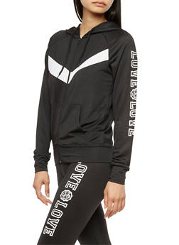 Long Sleeve Love Graphic Zip Up Hoodie - 3056072296200