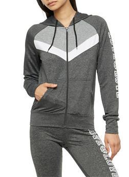 Long Sleeve Love Graphic Zip Up Hoodie - 3056072296200