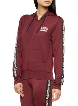 Love Graphic Zip Up Hoodie - 3056072297400