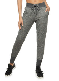 Marled Lace Up Ripped Jogger Pants - 3056072298090