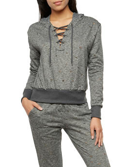 Laser Cut Lace Up Hoodie - 3056072298900