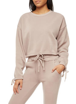 Fleece Drawstring Waist Sweatshirt - 3056072299658