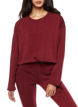 Fleece Drawstring Waist Sweatshirt - 3056072299658