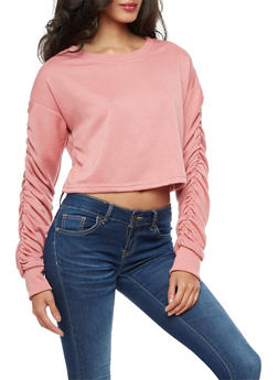 Ruched Long Sleeve Crop Top - 3056072299668