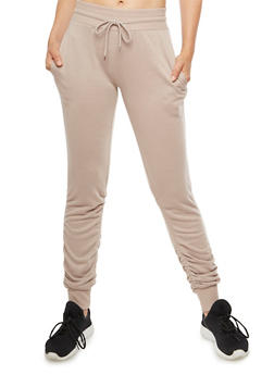 Solid Ruched Joggers - 3056072299669