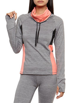 Long Sleeve Cowl Neck Athletic Pull Over Top - 3058038341001