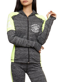 Long Sleeve Athletic Graphic Zip Up Hooded Top - 3058038341401