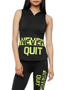 Hooded Never Quit Graphic Tank Top - 3058038341501