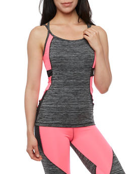 Athletic Color Block Strappy Back Tank Top - 3058038341700