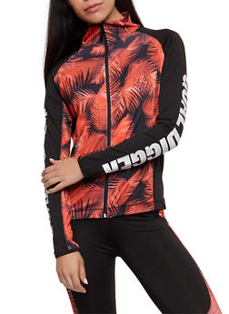 Long Sleeve Gold Digger Graphic Athletic Zip Up Top - 3058038341900