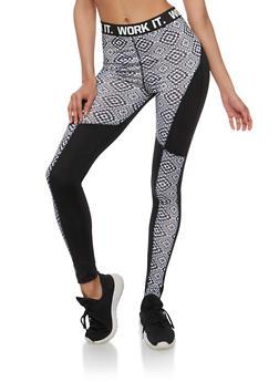Work It Graphic Athletic Leggings - BLACK - 3058038342004