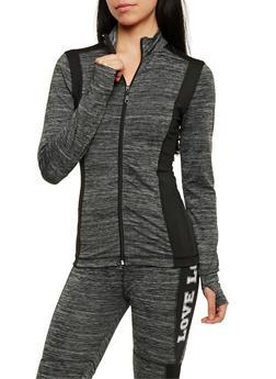 Long Sleeve Zip Front Activewear Top - BLACK - 3058038347718