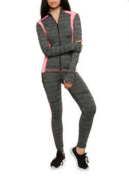 Long Sleeve Zip Front Activewear Top - 3058038347718