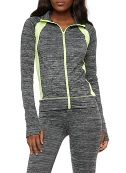 Long Sleeve Mind Over Matter Graphic Zip Up Top - 3058038348003