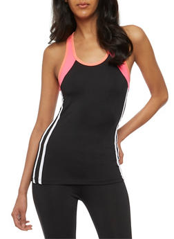 Athletic Racerback Tank Top with Varsity Stripes - 3058038349000