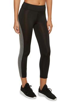 Capri Leggings with Contrast Trim and Pocket - 3058054266837