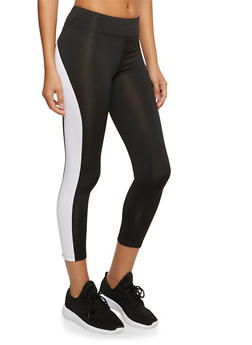 Capri Leggings with Contrast Trim and Pocket - BLACK/WHITE - 3058054266837