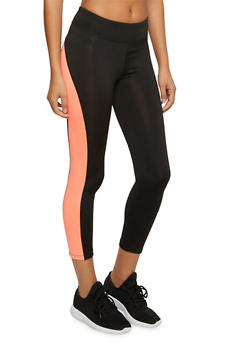 Capri Leggings with Contrast Trim and Pocket - 3058054266837