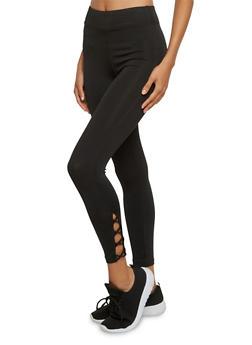 Capri Leggings with Crisscross Strap Detail - 3058054266857