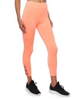Capri Leggings with Crisscross Strap Detail - 3058054266857
