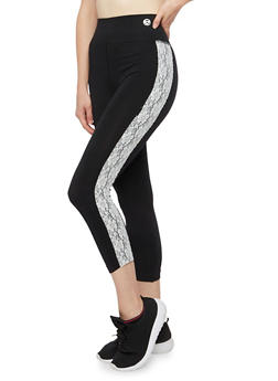 Lace Stripe Cropped Leggings - BLACK/WHITE - 3058062905001