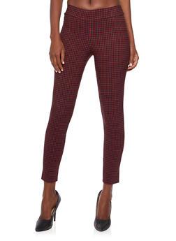 Stretch Pants in Windowpane Print - 3061020623676