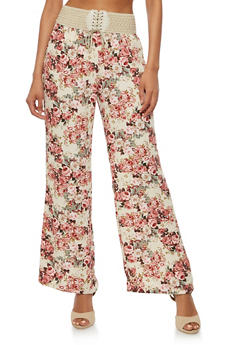 Floral Crepe Knit Pants - 3061020627622