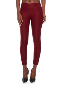 Solid Stretch Leggings - BURGUNDY - 3061020628076