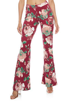 Floral Print Flared Pants - 3061020628167
