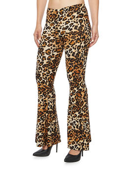 Printed Flared Pants in Stretch Knit - 3061020628876