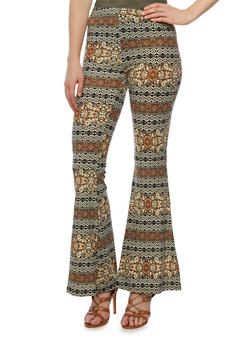 Printed Flared Pants in Stretch Knit - RUST - 3061020628876