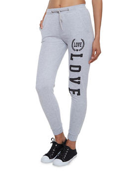Joggers with Love Graphic - 3061033877728