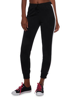 Fleece Joggers with Color Block Paneling - 3061051063399