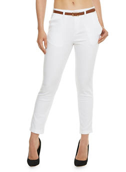 Belted Solid Skinny Pants - WHITE - 3061051063507