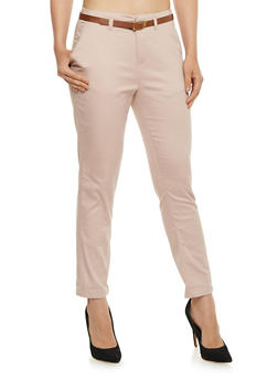 Belted Solid Skinny Pants - 3061051063507