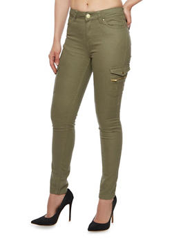 Twill Cargo Skinny Pants - OLIVE - 3061051063513