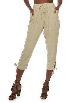 Solid Pants with Tie Ankles - 3061051063554