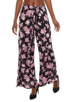 Light Weight Floral Wrap Front Palazzo Pants - 3061051063559
