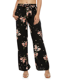 Tie Front Floral Palazzo Pants - 3061051063597