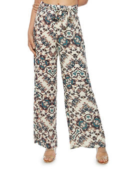 Tie Front Printed Palazzo Pants - 3061051063598