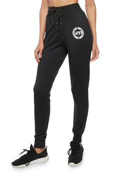 Love Graphic Lace Up Sweatpants - 3061051069352