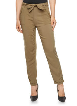 Lightweight Pants with Waist Cinch Belt - 3061051069723