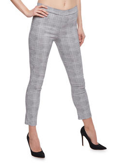 Gingham Print Pants - BLACK/WHITE - 3061062416554