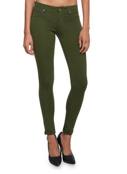 Skinny Pants with Fixed Rolled Hems - 3061062701537